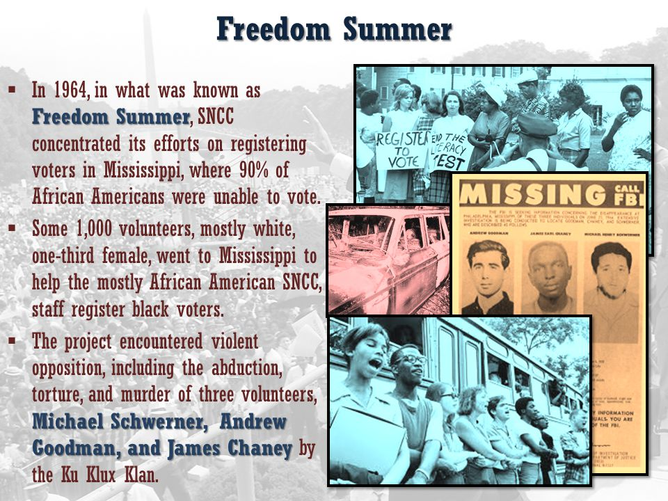 Freedom Summer Freedom Summer  In 1964, in what was known as Freedom Summer, SNCC concentrated its efforts on registering voters in Mississippi, where 90% of African Americans were unable to vote.