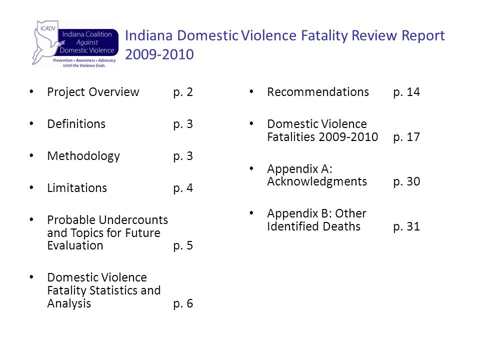 Indiana Domestic Violence Fatality Review Report 2009-2010 Project Overviewp.
