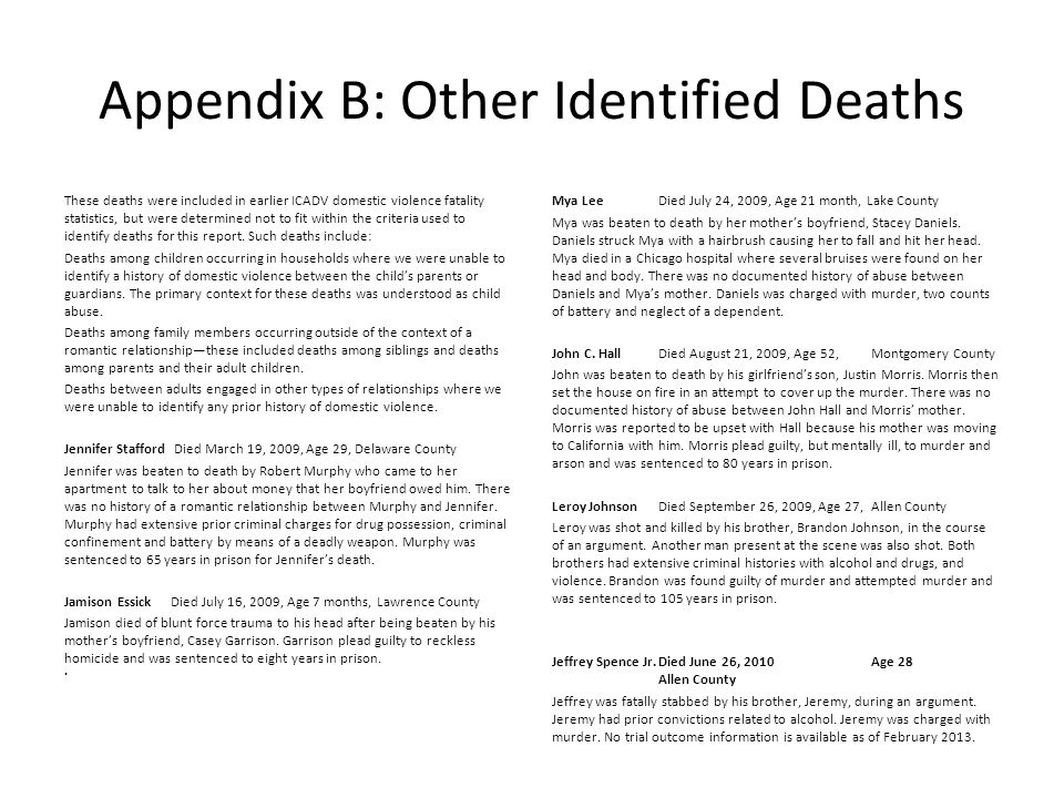 Appendix B: Other Identified Deaths These deaths were included in earlier ICADV domestic violence fatality statistics, but were determined not to fit within the criteria used to identify deaths for this report.