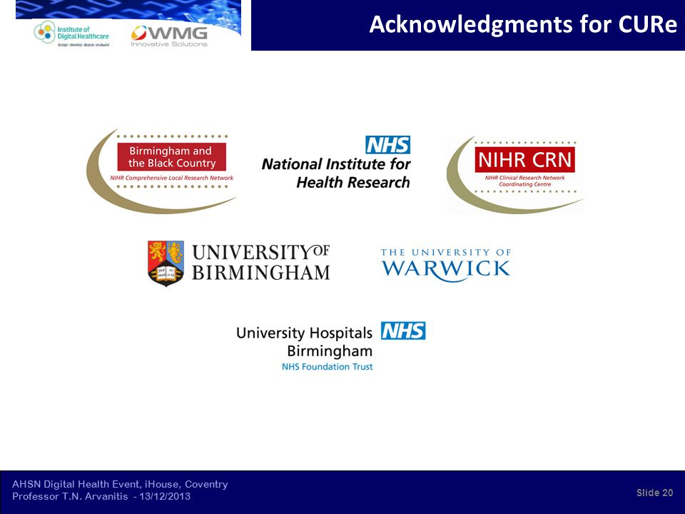 AHSN Digital Health Event, iHouse, Coventry Professor T.N. Arvanitis - 13/12/2013 Acknowledgments for CURe Slide 20