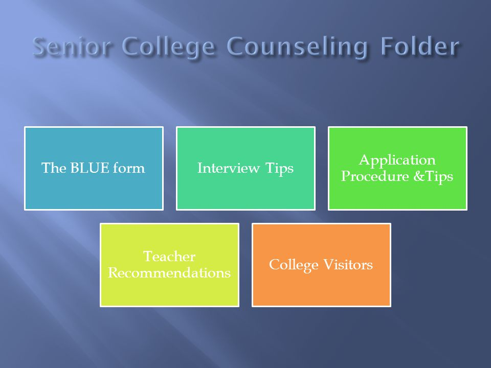 The BLUE formInterview Tips Application Procedure &Tips Teacher Recommendations College Visitors