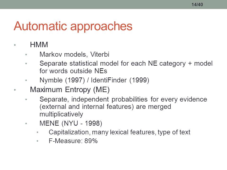 14/40 HMM Markov models, Viterbi Separate statistical model for each NE category + model for words outside NEs Nymble (1997) / IdentiFinder (1999) Max