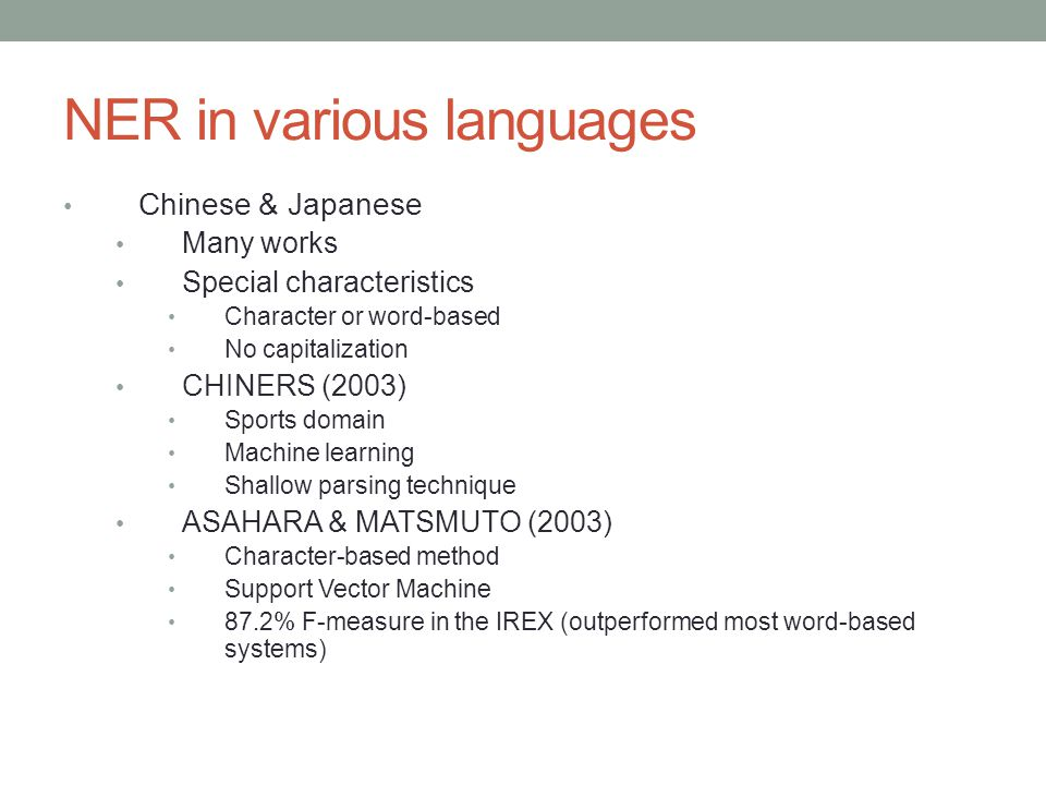 NER in various languages Chinese & Japanese Many works Special characteristics Character or word-based No capitalization CHINERS (2003) Sports domain Machine learning Shallow parsing technique ASAHARA & MATSMUTO (2003) Character-based method Support Vector Machine 87.2% F-measure in the IREX (outperformed most word-based systems)