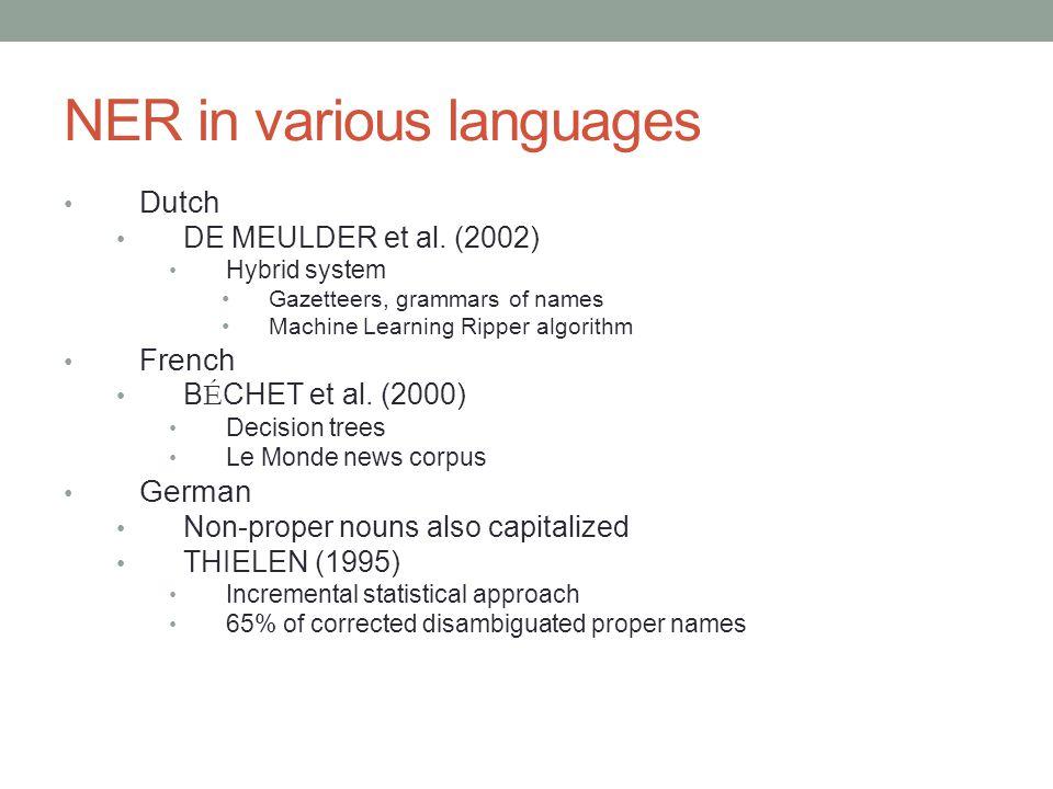 NER in various languages Dutch DE MEULDER et al. (2002) Hybrid system Gazetteers, grammars of names Machine Learning Ripper algorithm French B É CHET