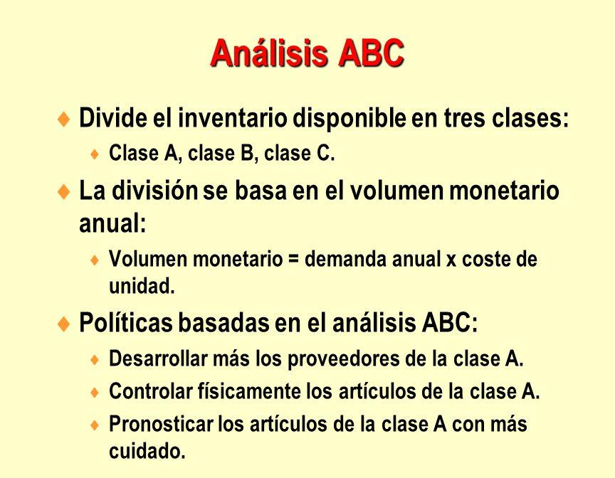  Divide el inventario disponible en tres clases:  Clase A, clase B, clase C.  La división se basa en el volumen monetario anual:  Volumen monetari