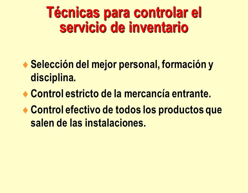 Técnicas para controlar el servicio de inventario  Selección del mejor personal, formación y disciplina.  Control estricto de la mercancía entrante.