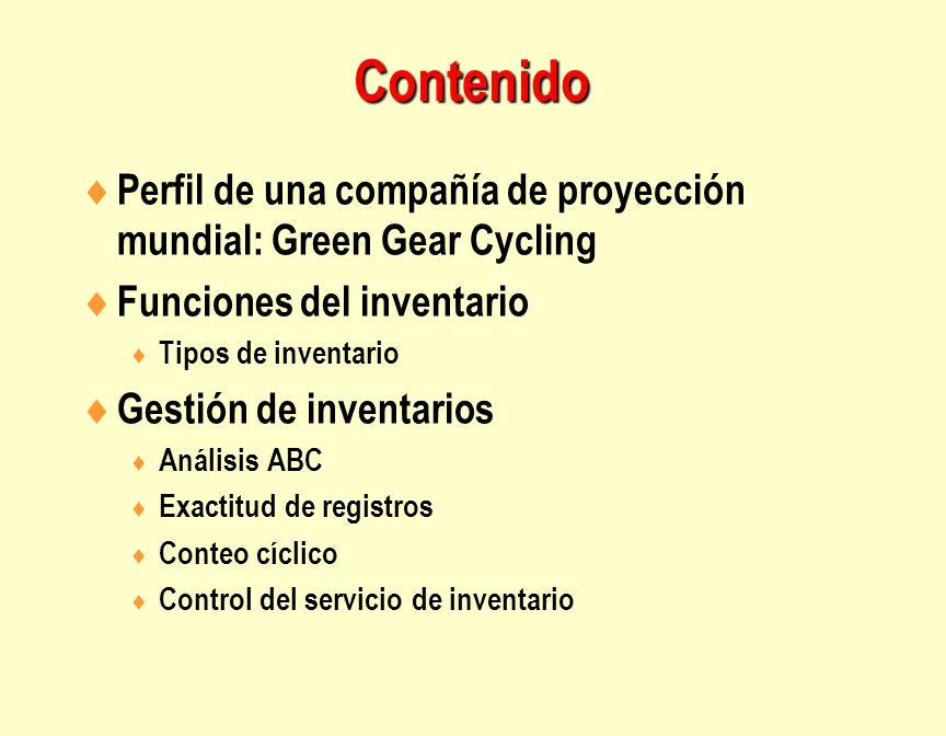 Contenido  Perfil de una compañía de proyección mundial: Green Gear Cycling  Funciones del inventario  Tipos de inventario  Gestión de inventarios