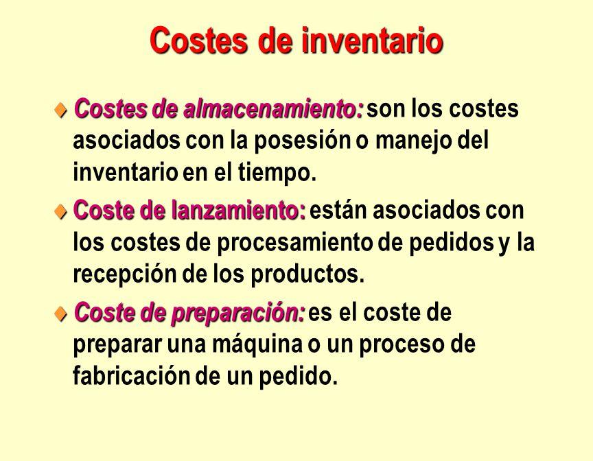 Costes de inventario  Costes de almacenamiento:  Costes de almacenamiento: son los costes asociados con la posesión o manejo del inventario en el ti
