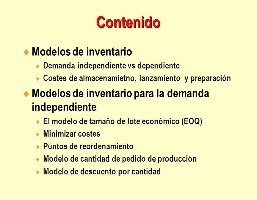 Contenido  Modelos de inventario  Demanda independiente vs dependiente  Costes de almacenamietno, lanzamiento y preparación  Modelos de inventario