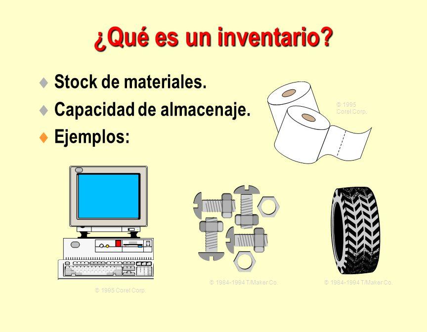  Stock de materiales.  Capacidad de almacenaje.  Ejemplos: © 1995 Corel Corp. © 1984-1994 T/Maker Co. © 1995 Corel Corp. ¿Qué es un inventario?
