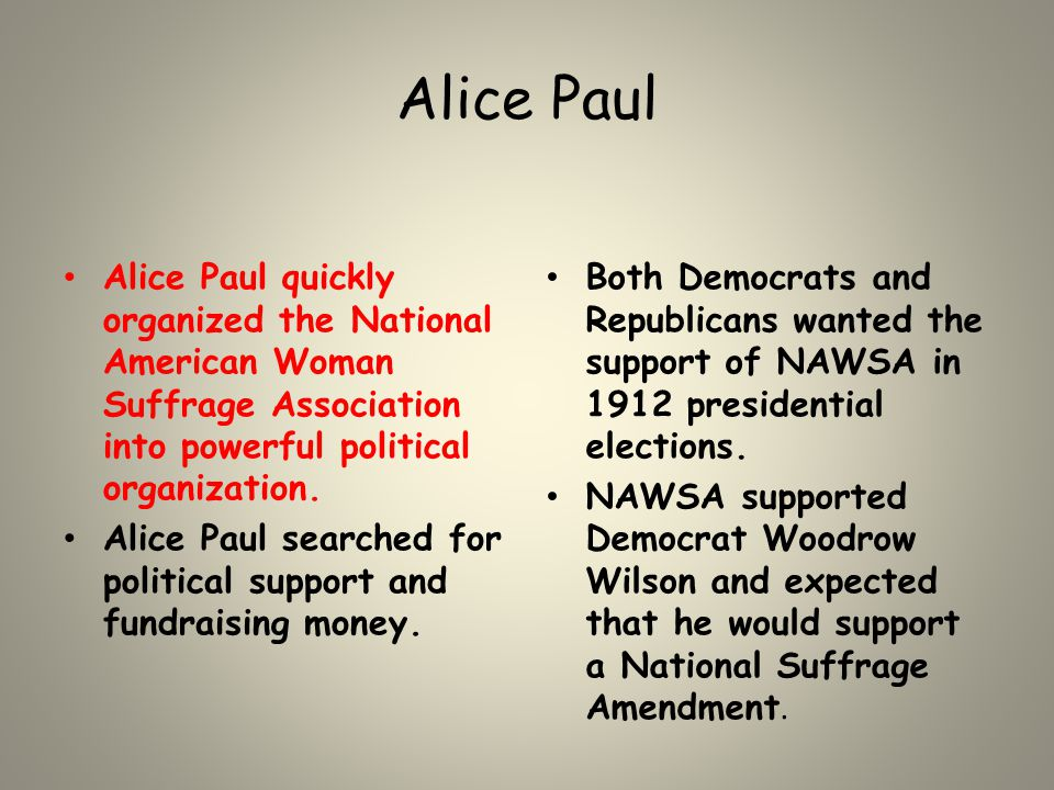 Alice Paul Alice Paul quickly organized the National American Woman Suffrage Association into powerful political organization. Alice Paul searched for