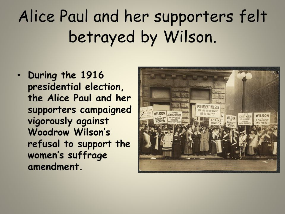Alice Paul and her supporters felt betrayed by Wilson. During the 1916 presidential election, the Alice Paul and her supporters campaigned vigorously