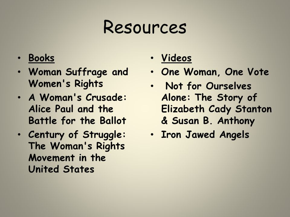 Resources Books Woman Suffrage and Women's Rights A Woman's Crusade: Alice Paul and the Battle for the Ballot Century of Struggle: The Woman's Rights