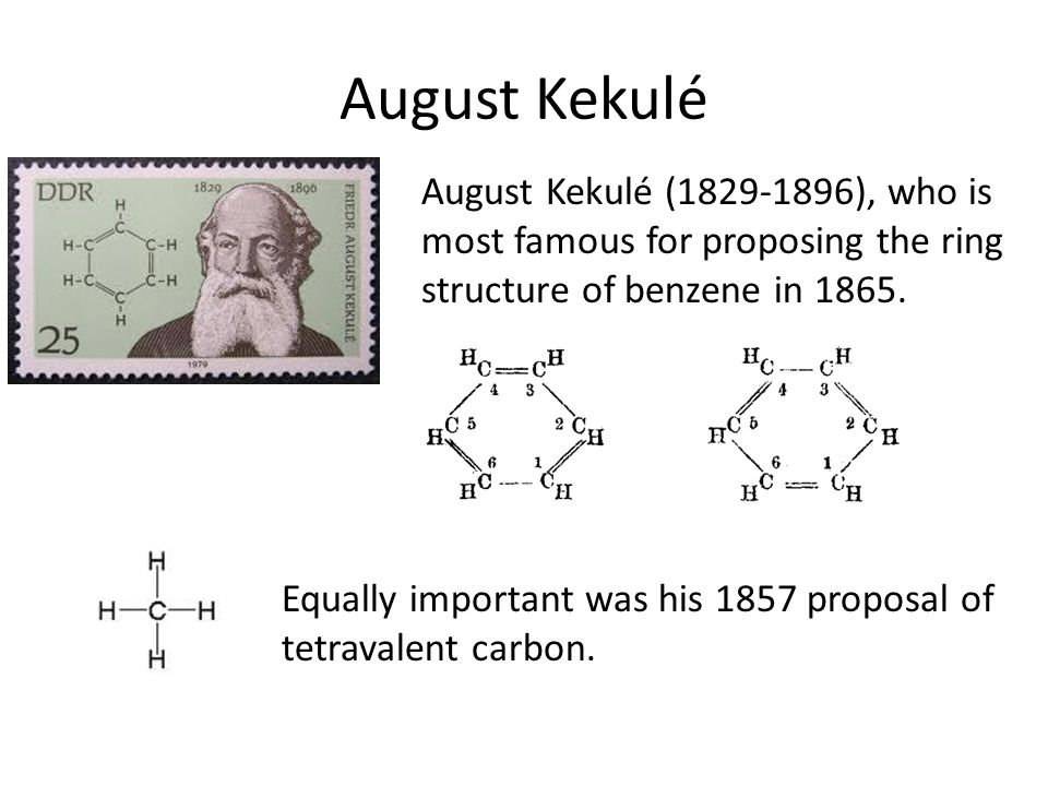 August Kekulé August Kekulé (1829-1896), who is most famous for proposing the ring structure of benzene in 1865. Equally important was his 1857 propos