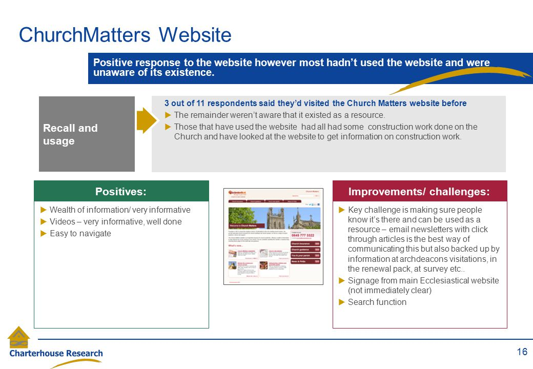 ChurchMatters Website 16 Positive response to the website however most hadn't used the website and were unaware of its existence. RECALL  Key challen