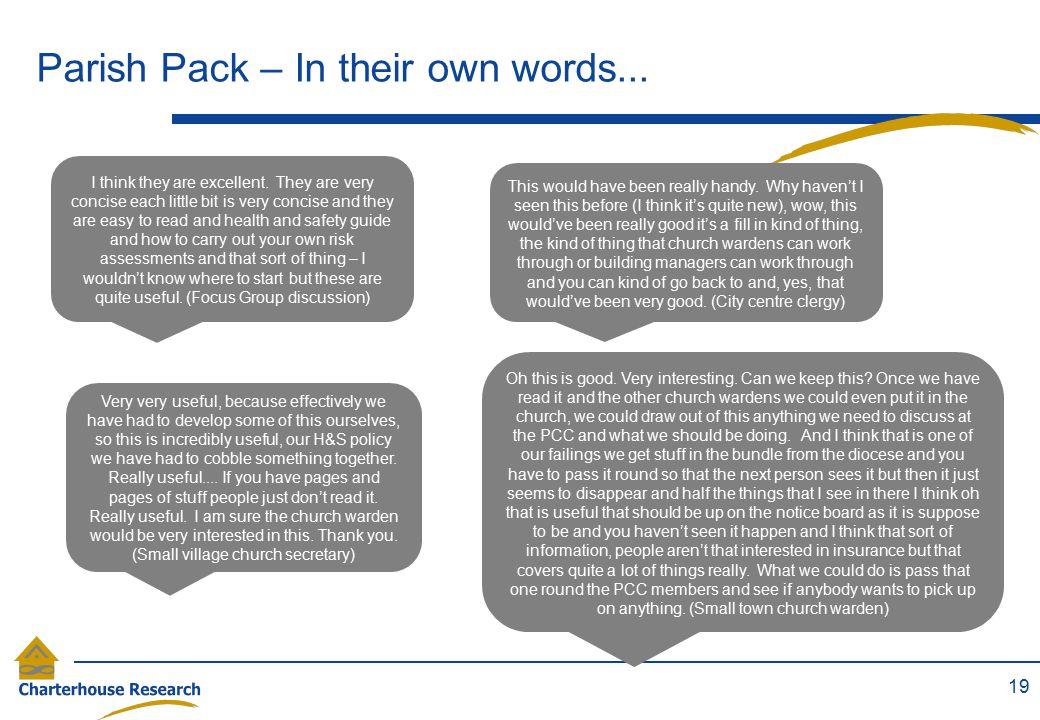 Parish Pack – In their own words...19 I think they are excellent.