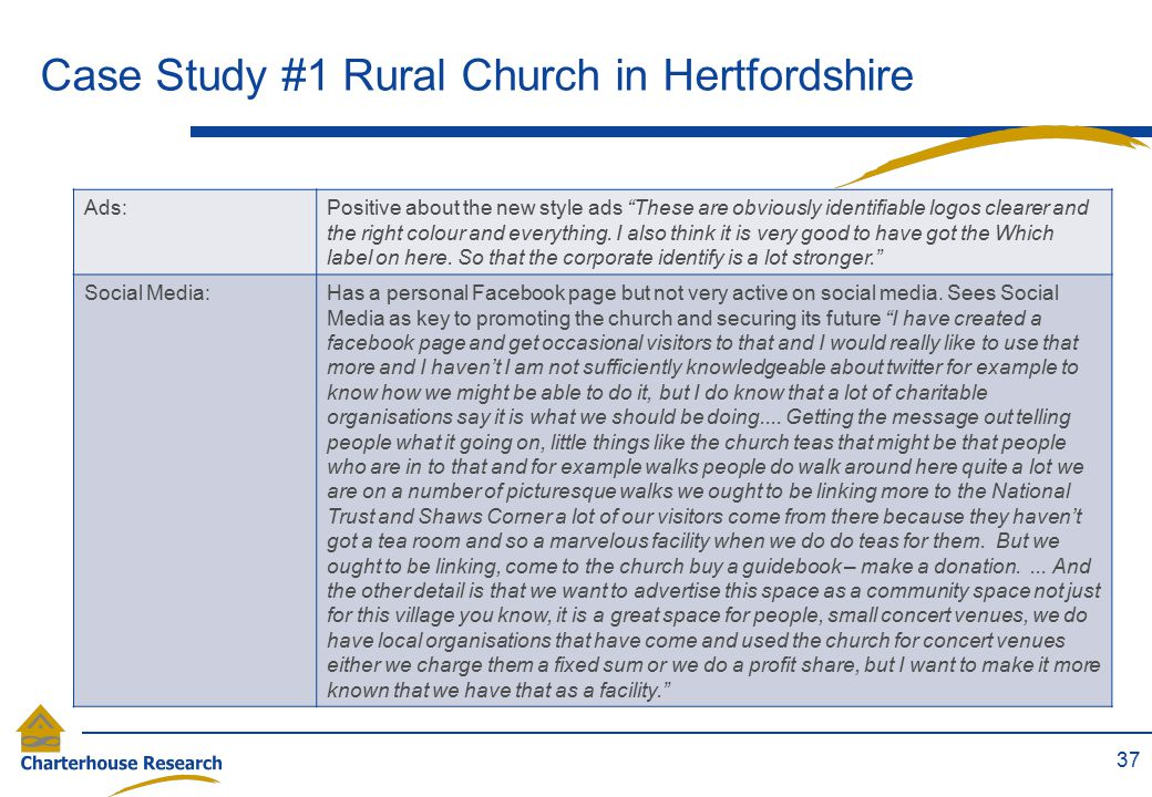"""Case Study #1 Rural Church in Hertfordshire 37 Ads:Positive about the new style ads """"These are obviously identifiable logos clearer and the right colo"""