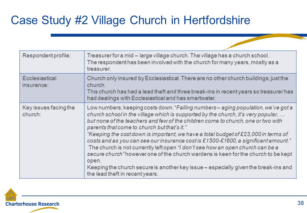 Case Study #2 Village Church in Hertfordshire 38 Respondent profile:Treasurer for a mid – large village church. The village has a church school. The r