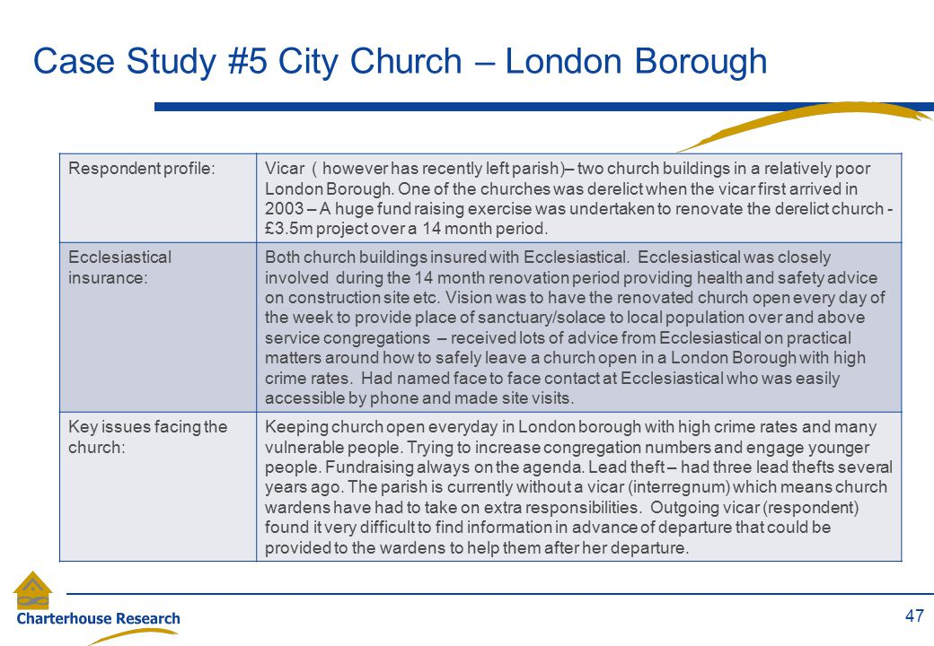 Case Study #5 City Church – London Borough 47 Respondent profile:Vicar ( however has recently left parish)– two church buildings in a relatively poor