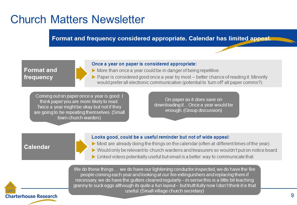 Church Matters Newsletter 9 Format and frequency considered appropriate.