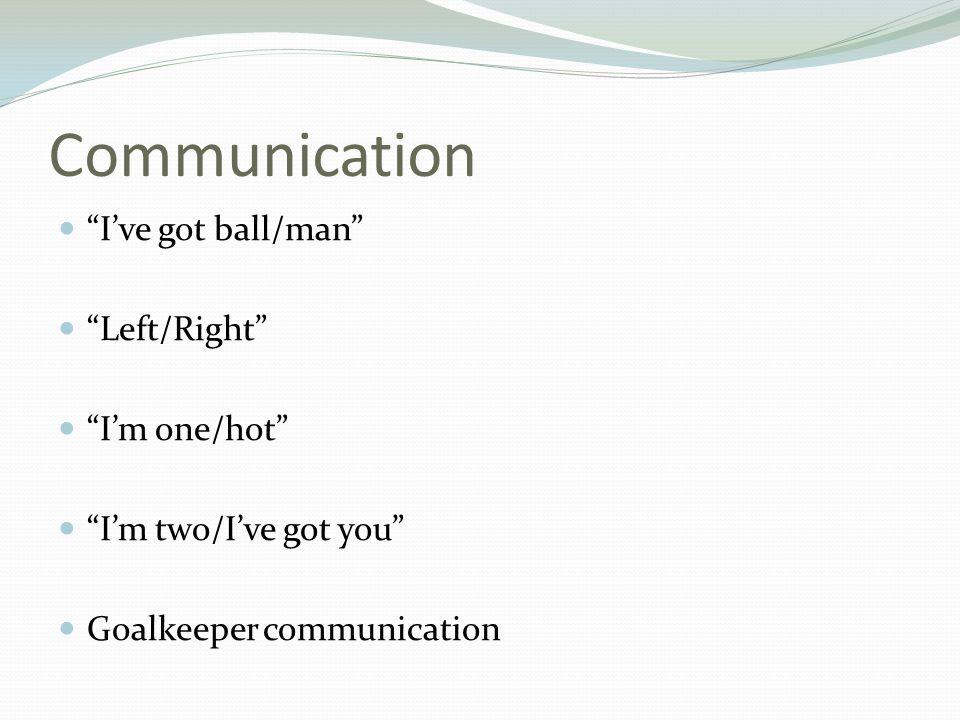 Communication I've got ball/man Left/Right I'm one/hot I'm two/I've got you Goalkeeper communication