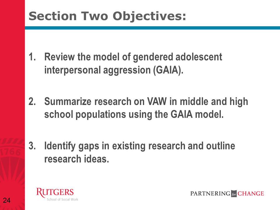 Section Two Objectives: 1.Review the model of gendered adolescent interpersonal aggression (GAIA). 2.Summarize research on VAW in middle and high scho