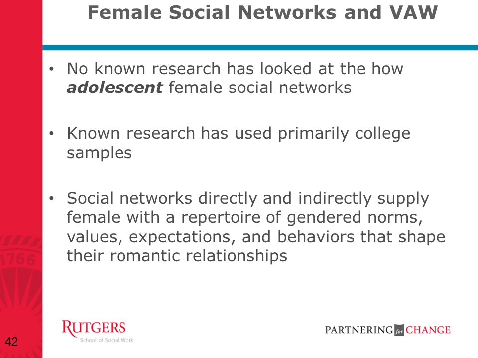 Female Social Networks and VAW No known research has looked at the how adolescent female social networks Known research has used primarily college sam