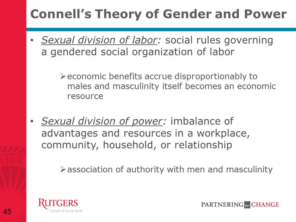 Connell's Theory of Gender and Power Sexual division of labor: social rules governing a gendered social organization of labor  economic benefits accr