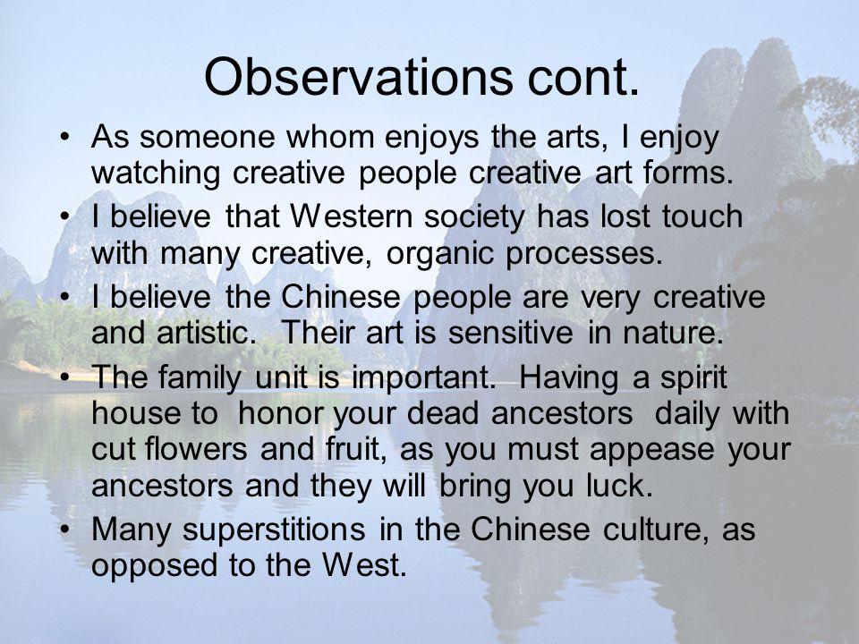 Observations cont.