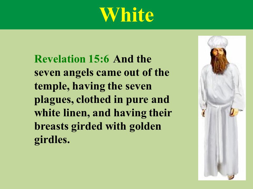 White Revelation 15:6 And the seven angels came out of the temple, having the seven plagues, clothed in pure and white linen, and having their breasts girded with golden girdles.