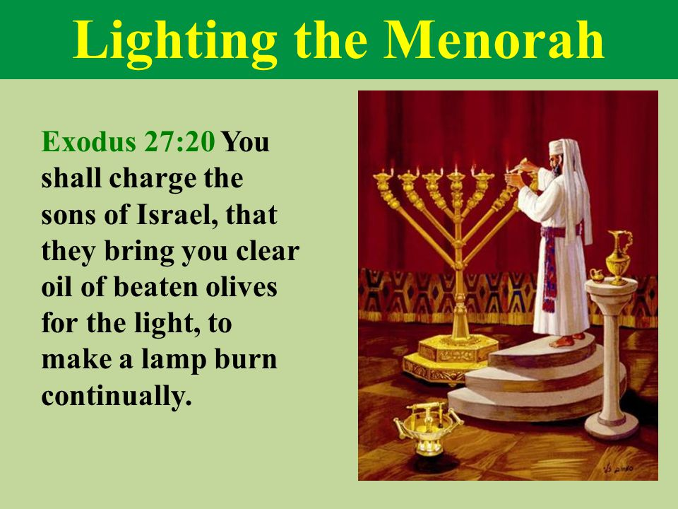 Lighting the Menorah Exodus 27:20 You shall charge the sons of Israel, that they bring you clear oil of beaten olives for the light, to make a lamp burn continually.