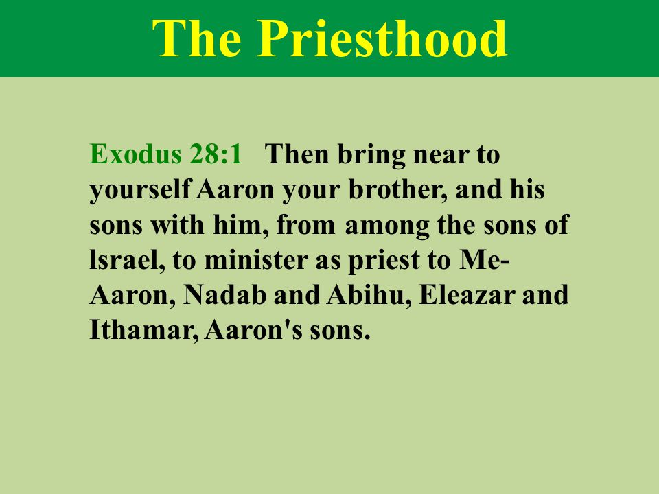 The Priesthood Exodus 28:1 Then bring near to yourself Aaron your brother, and his sons with him, from among the sons of lsrael, to minister as priest to Me- Aaron, Nadab and Abihu, Eleazar and Ithamar, Aaron s sons.