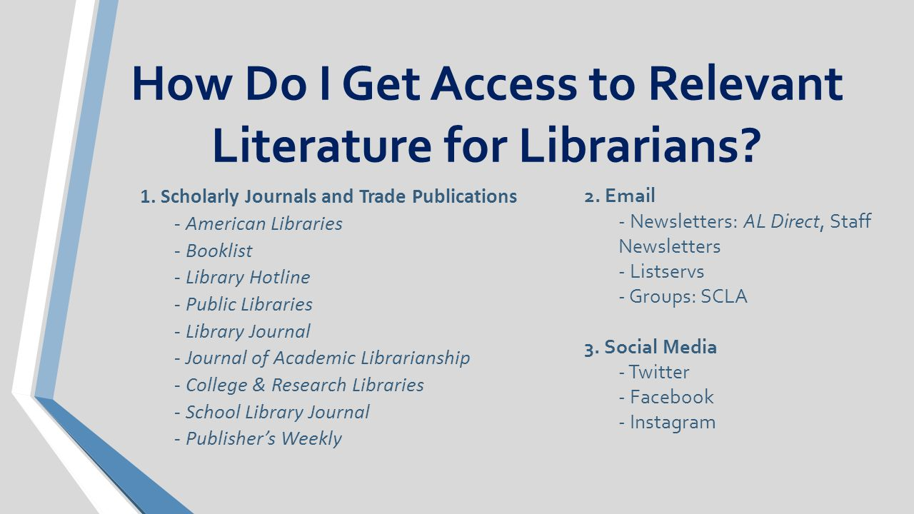 How Do I Get Access to Relevant Literature for Librarians.