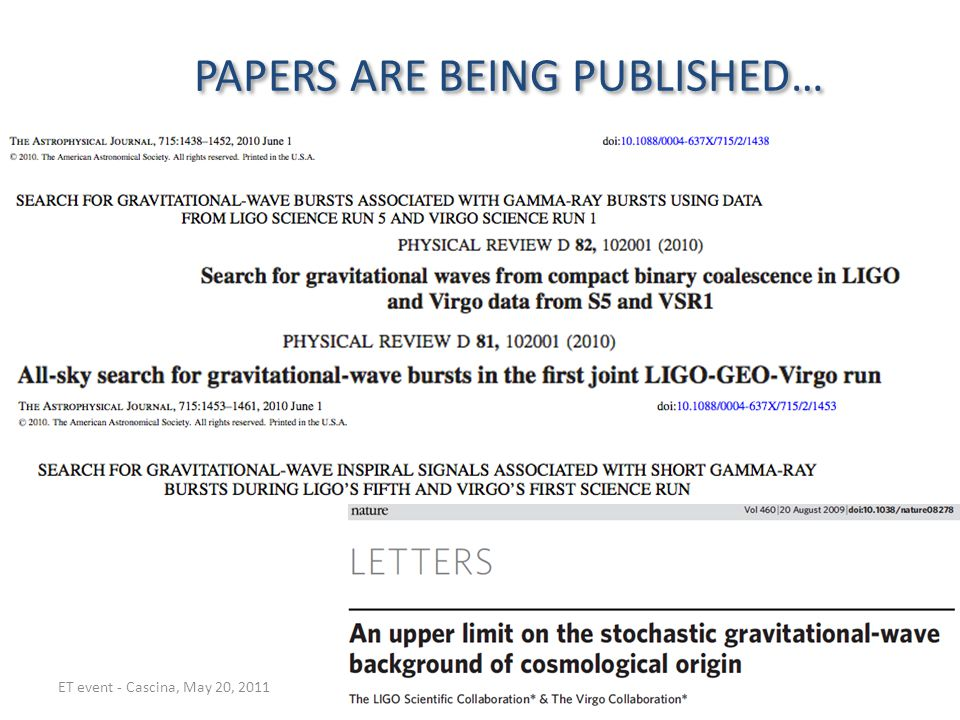 PAPERS ARE BEING PUBLISHED… aa ET event - Cascina, May 20, 2011G Losurdo - Advanced Virgo Project Leader15