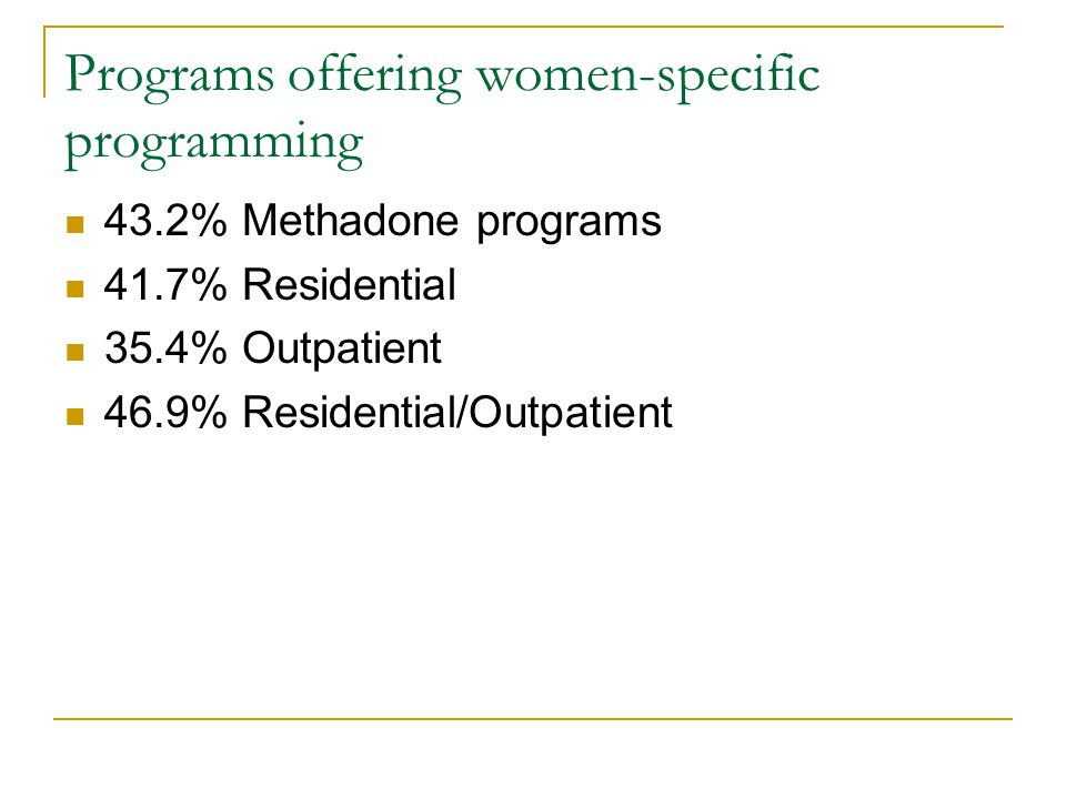 Programs offering women-specific programming 43.2% Methadone programs 41.7% Residential 35.4% Outpatient 46.9% Residential/Outpatient
