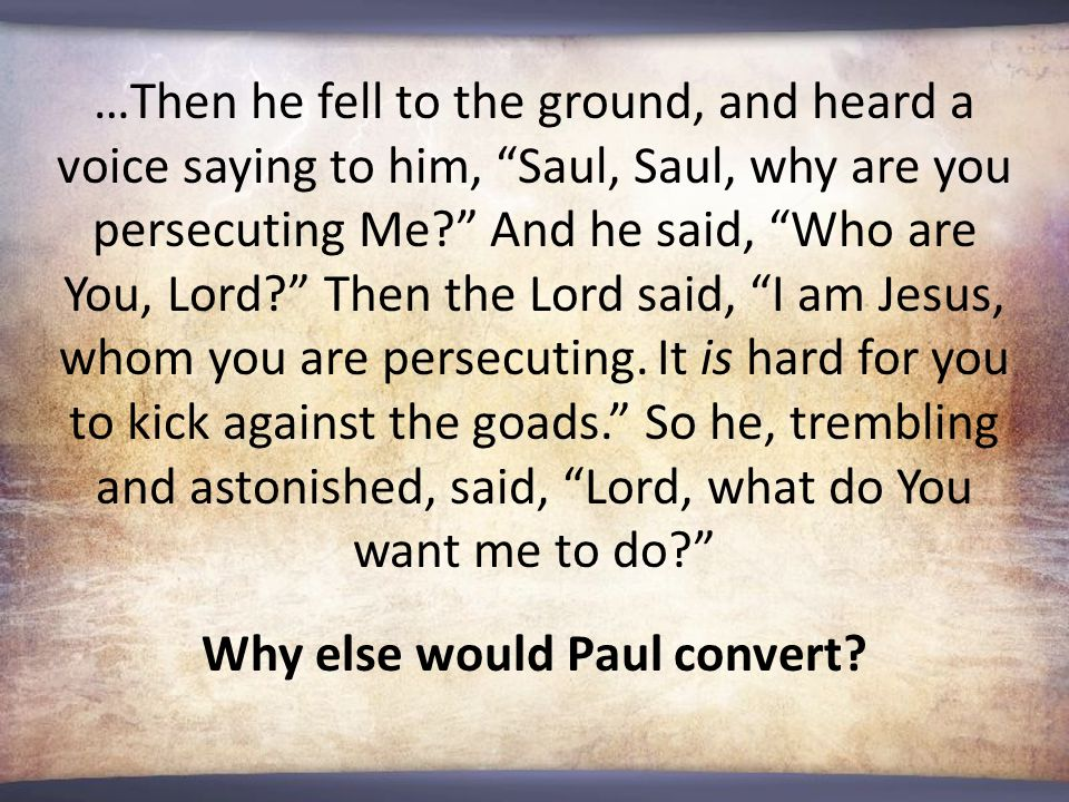 …Then he fell to the ground, and heard a voice saying to him, Saul, Saul, why are you persecuting Me? And he said, Who are You, Lord? Then the Lord said, I am Jesus, whom you are persecuting.