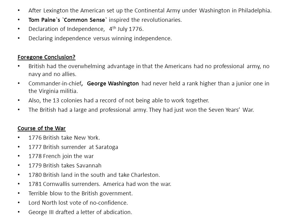 After Lexington the American set up the Continental Army under Washington in Philadelphia.