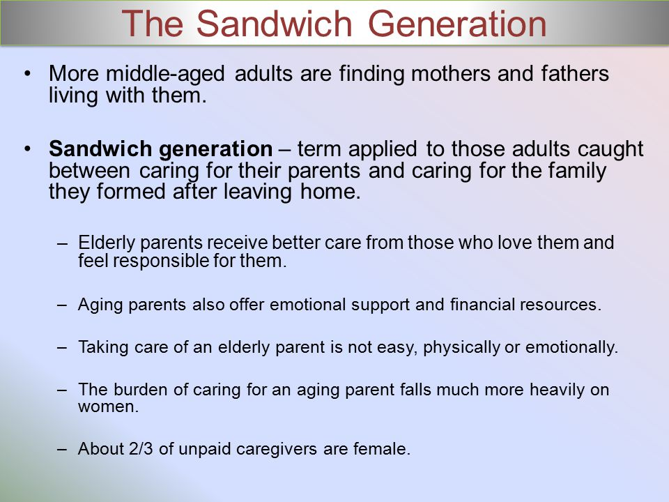 The Sandwich Generation More middle-aged adults are finding mothers and fathers living with them.