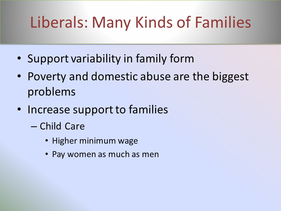 Liberals: Many Kinds of Families Support variability in family form Poverty and domestic abuse are the biggest problems Increase support to families –