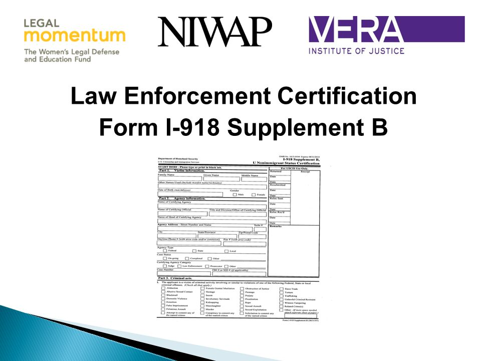 Law Enforcement Certification Form I-918 Supplement B