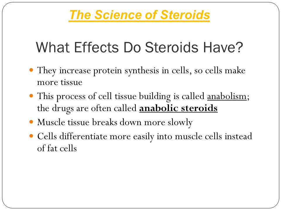What Effects Do Steroids Have? They increase protein synthesis in cells, so cells make more tissue This process of cell tissue building is called anab