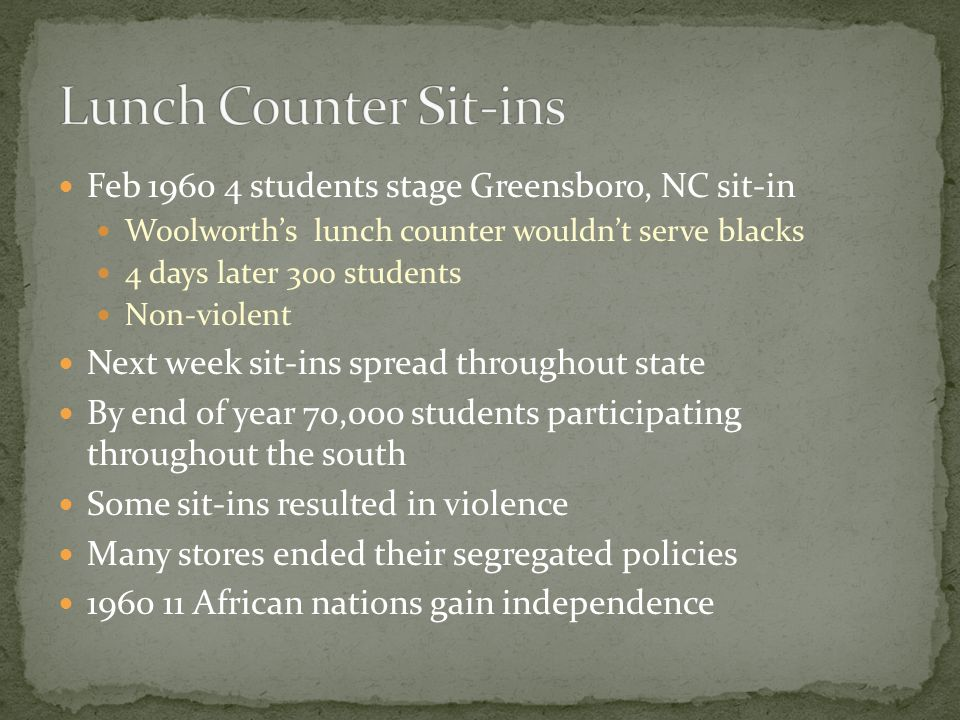 Feb 1960 4 students stage Greensboro, NC sit-in Woolworth's lunch counter wouldn't serve blacks 4 days later 300 students Non-violent Next week sit-in