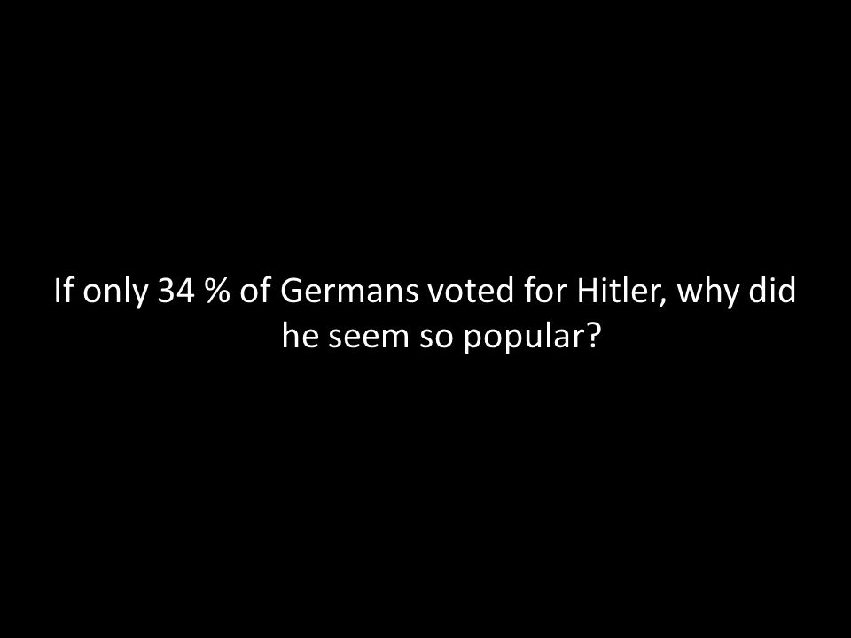 If only 34 % of Germans voted for Hitler, why did he seem so popular?
