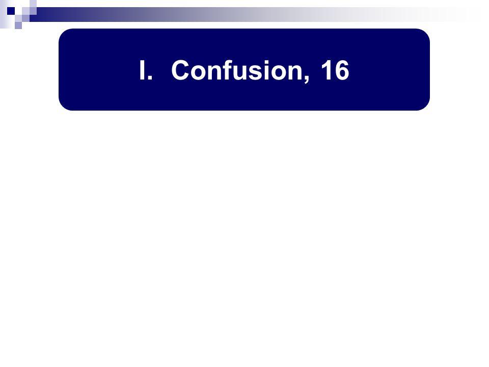 I. Confusion, 16
