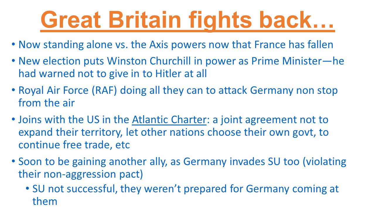 Great Britain fights back… Now standing alone vs.