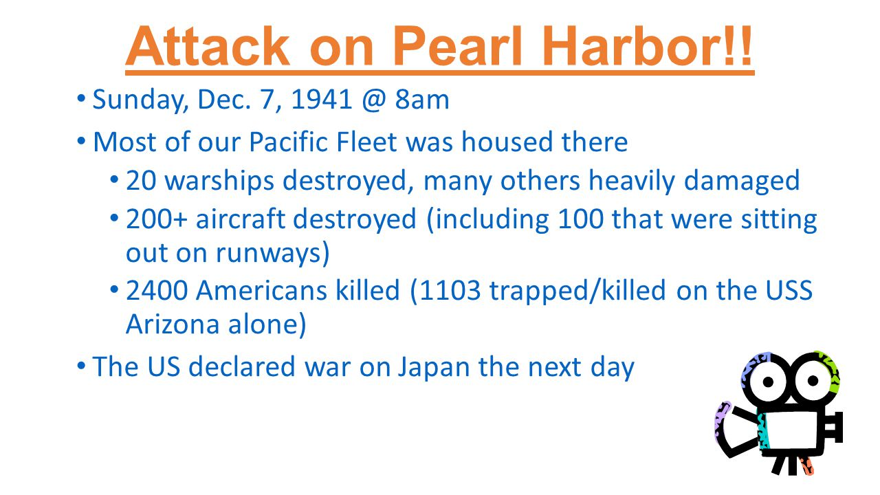 Attack on Pearl Harbor!. Sunday, Dec.