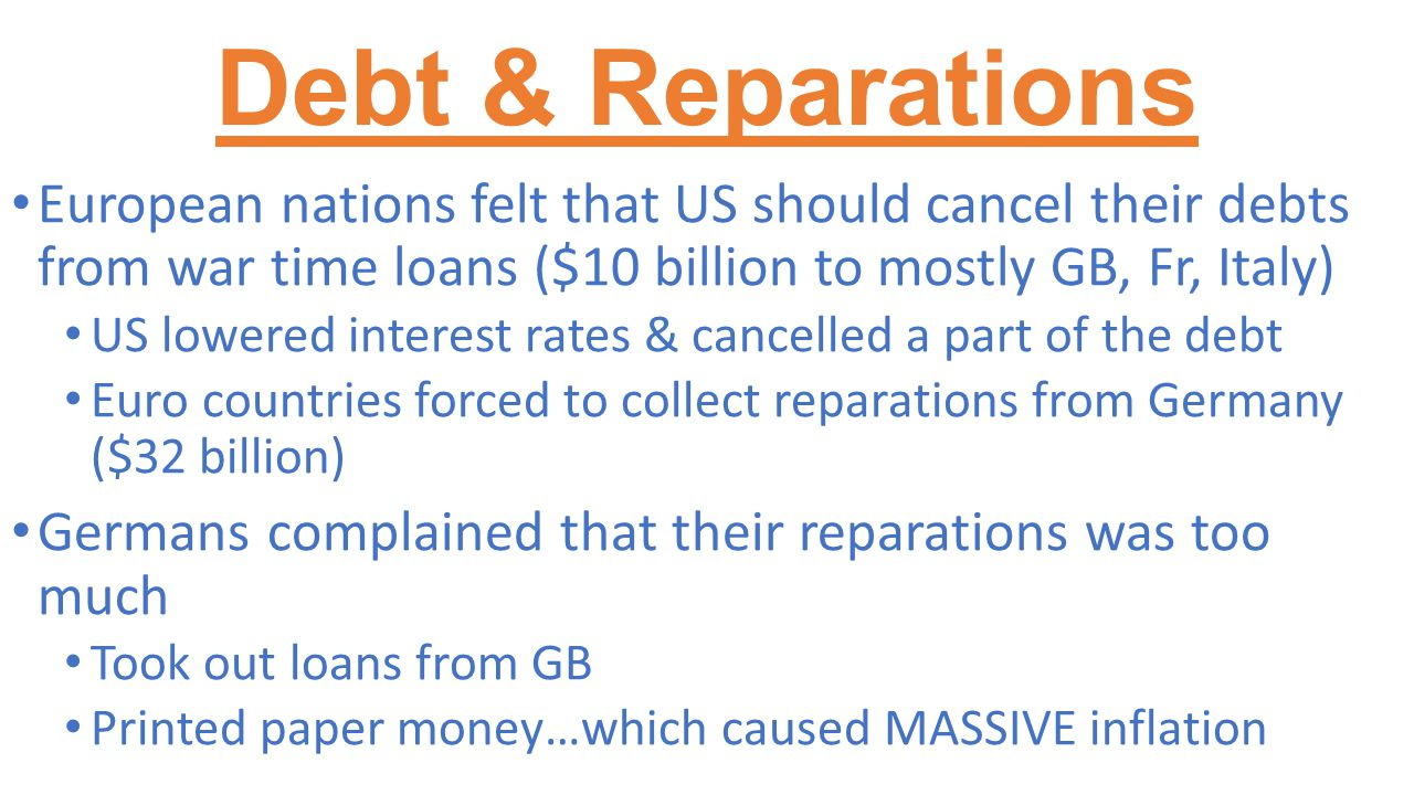 Debt & Reparations European nations felt that US should cancel their debts from war time loans ($10 billion to mostly GB, Fr, Italy) US lowered intere