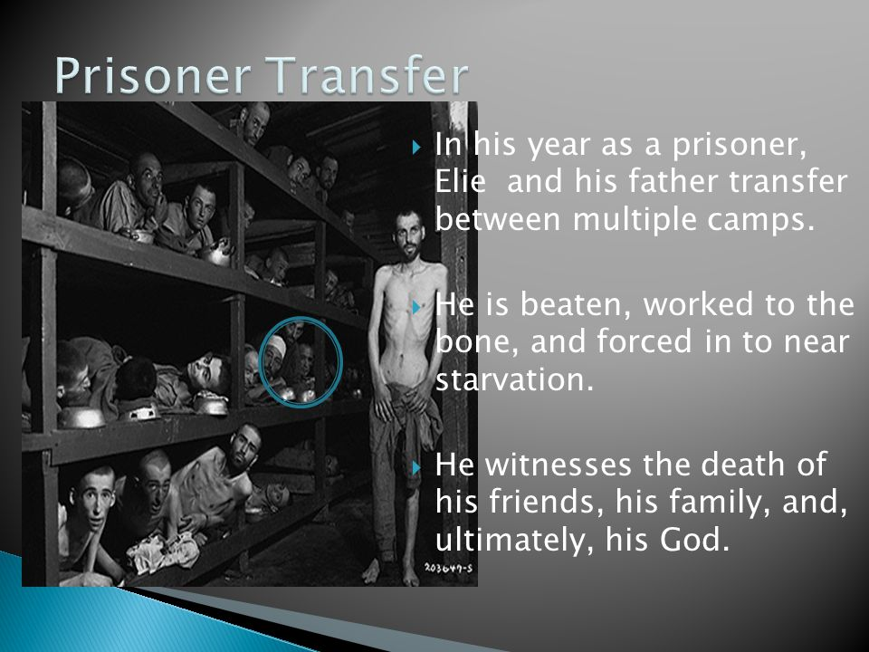  In his year as a prisoner, Elie and his father transfer between multiple camps.