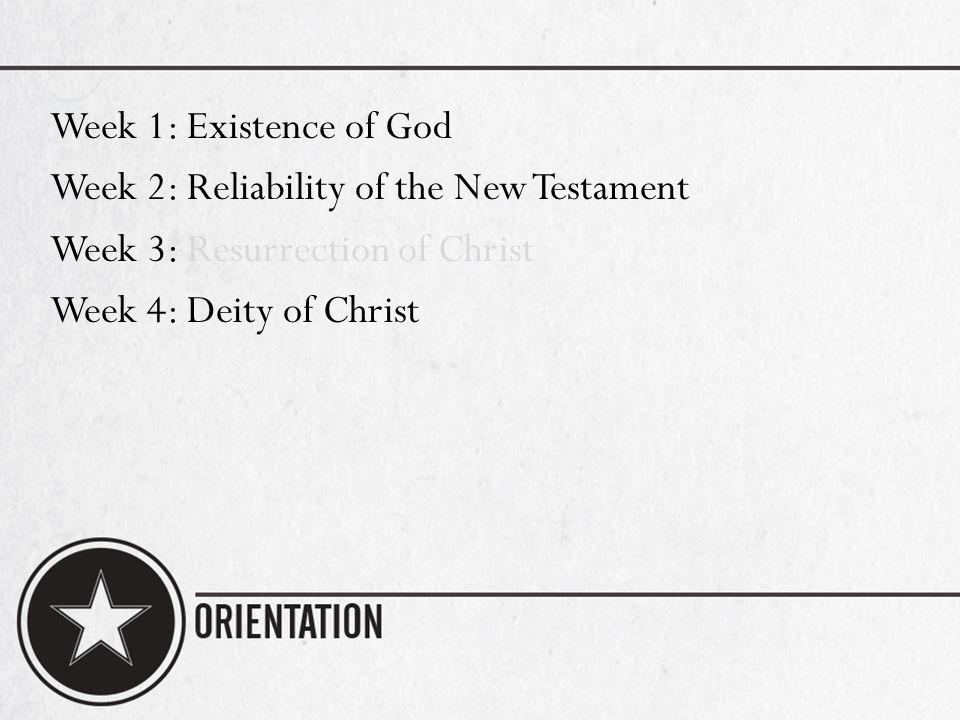 Week 1: Existence of God Week 2: Reliability of the New Testament Week 3: Resurrection of Christ Week 4: Deity of Christ