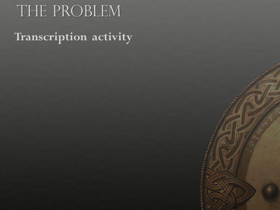 Transcription activity The Problem